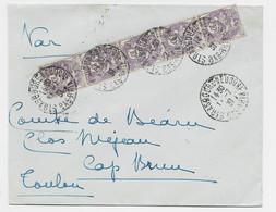 BLAND 10C BANDE DE 5 LETTRE STRASBOURG 11.7.1931 POUR TOULON AU TARIF - 1900-29 Blanc