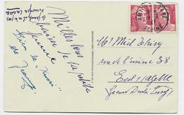 GANDON 3FR PAIRE CARTE AMIENS GARE 19.7.1947 POUR LE LUXEMBOURG TARIF ETRANGER ET NON RELATIONS - 1945-54 Marianne (Gandon)