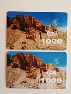 KAZAKHSTAN..LOT OF 2 PHONECARDS.. KCELL..1000 TENGE..CANYON CHARYN - Montagne