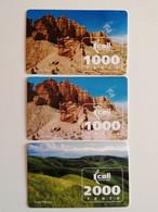 KAZAKHSTAN..LOT OF 3 PHONECARDS.. KCELL..2000, 1000 TENGE.. PLATEAU USCHKONYR, CANYON CHARYN - Montagne