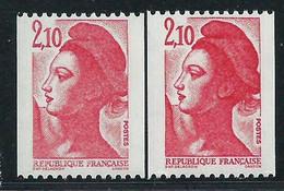 [43] Variété : N° 2319 Type Liberté De Roulette Gomme Brillante + Normal ** - Varieties: 1980-89 Mint/hinged