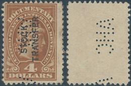 Stati Uniti D'america,United States,U.S.A, Revenue Stamp 4 Dollars,STOCK TRANSFER DOCUMENTARY INTERNAL-PERFIN - Perforados