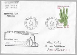 23 - TAAF - PO 119 Du 4.2.1990 KERGUELEN - Escale Du P.H JEANNE D'ARC Et De L' A.E Cdt BOURDAIS à Kerguelen. - Cartas