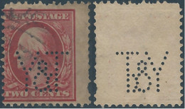 Stati Uniti D'america,United States,U.S.A,1909 George Washington 2C Carmine  PERFIN ( Y&T) - Perforados