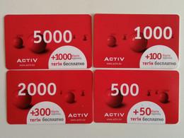 KAZAKHSTAN..  LOT OF 4 PHONECARDS.. ACTIV..5000, 2000, 1000, 500 - Telecom Operators