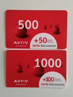 KAZAKHSTAN..  LOT OF 2 PHONECARDS.. ACTIV.. 1000, 500 - Telecom Operators