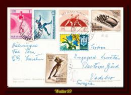 1957 Saint Marin San Marino Panorama B&W Ak Carte Postcard Posted To Sweden 2scans - Briefe U. Dokumente
