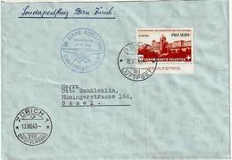 Schweiz Suisse 1943: PRO AERO 30 J.ALPENFLUG OSKAR BIDER Zu F36 Mi 422 Yv PA35 O BERN 13.VII.43 > ZÜRICH (Zu CHF 22.00) - Usados