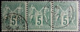 N°75 Bande De 3 Sage 5c. Vert. Cachet Du 4 Janvier 1878 à Pont-Audemer . Vendu En L'état. Voir Scan.... - 1876-1898 Sage (Type II)