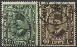 Égypte, 1927-33, Roi Fouad Ier, Grand Format, 20, 40 M, Oblitérés - Oblitérés