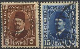 Égypte, 1927-33, Roi Fouad Ier, Monogramme (F)ouad (R)ex, 5, 15 M, Oblitérés - Oblitérés