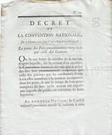 Décret De La Convention Nationale An 1: Peine Des Fers Remplacée Par Les Galères   2 P Signé Lebrun Contre Signé DANTON - Gesetze & Erlasse