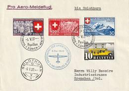 Schweiz Suisse 1939: Pro Aero Meldeflug Zur LANDESAUSSTELLUNG Zürich Bis SOLOTHURN 6.V.39  Nach Grenchen - Erst- U. Sonderflugbriefe