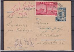 Pologne - Carte Postale De 1947 - Entier Postal - Oblit Lycocice ? - Exp Vers Krakow - - Cartas