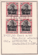 Belgique - COB OC20 En Bloc De 4 Obl. Antwerpen - 1918 - [OC1/25] General Gov.