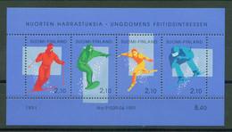 Finland 1991 - Jugendhobbys - Alpenskifahren, BL. 8, MNH** - Nuevos