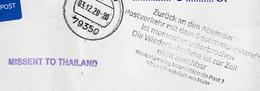 "Corona Covid 19 Postal Service Interruption And Pm. MISSENT TO THAILAND""Zurück An Den Absender"" Cover VIENTIANE LAOS - Thailand"