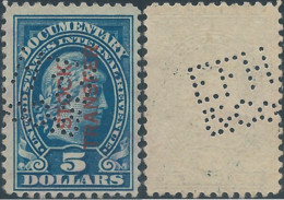 Stati Uniti D'america,United States,U.S.A,1914  Liberty Internal Revenue $5 Blue Overprinted STOCK TRANSFER,Mint,PERFIN - Perforados