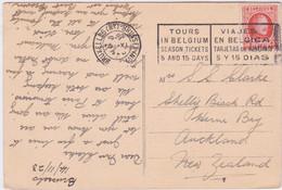 Belgium-1923 30 C Orange On Bruxelles (No.)-Brussels (No.) Postcard Cover To Auckland, New Zealand - Cartas