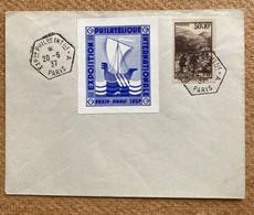 Enveloppe Souvenir Exposition Philatélique Internationale Affranchie Avec Vignette Paris Pexip 1937 - Gedenkstempels