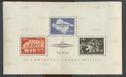 1945 Légion Des S.S. Croates. Bloc 9. Infime Charnière, Petit Pli Dans Un Coin. Cote. 1100-euros Mi.2200-€ - Croatia
