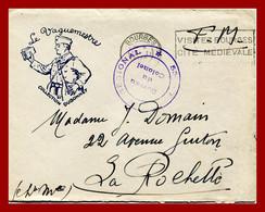 """LAC Enveloppe En FM Illustrée """"collection Dubonnet - Le Vaguemestre"""". 53é Régt. Régional.  Bourges Mars 1940 - Guerra Del 1939-45"""