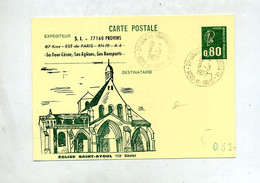 Carte Postale 0.80 Bequet Cachet Provins Annexe GA Illustré Eglise - Overprinter Postcards (before 1995)