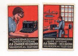 Y7354/ 2 X Reklamemarke Schreibmaschine A.A. Zimmer Heilbronn Ca.1910 - Advertising