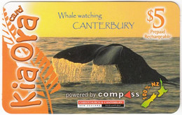 NEW ZEALAND B-021 Prepaid Kiaora - Animal, Sea Life, Whale - Used - Nueva Zelanda