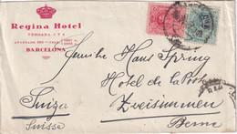 ESPAGNE  LETTRE DE BARCELONA  REGINA HOTEL - Storia Postale