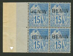 BENIN : Bloc De 4 15c (n°6) Type III Neuf **. Rare Sans Charniére. Signé SCHELLER. Superbe. - Unclassified