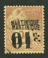 MARTINIQUE : 01c S/ 2c (n°7a) Double Surcharge Obl. Cote 700€. Signé SCHELLER. TTB. - Non Classés