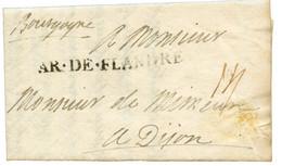 """1706 Cachet AR. DE FLANDRE Sur Lettre Avec Texte Daté """"CAMP De KEUVAIN"""" Pour DIJON. Superbe. - Army Postmarks (before 1900)"""