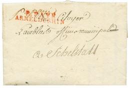 """An 3 Rare Cachet P. PAYE / ARMEE DU RHIN En Rouge Sur Lettre Avec Texte Daté """"MAYENCE"""" Pour SCHELSTATT. Pièce D' Amateur - Army Postmarks (before 1900)"""