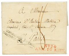 """1808 N°24 ARMEE DU RHIN En Rouge Sur Lettre Avec Texte Daté """"HANNOVRE"""" Pour La FRANCE. RARE (REINHARDT = 1000). TTB. - Army Postmarks (before 1900)"""