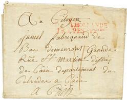 """Don A HOLLANDE TROUPES Foises En Rouge Sur Lettre Daté """"BERGOBECSOMME (bergen Op Zoom)"""" Pour CAEN. TB Texte Militaire """"j - Army Postmarks (before 1900)"""