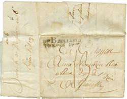 """An 6 Don B HOLLANDE TROUPES Foises Noir Sur Lettre Avec Texte (5 Pages) Datée """"BREDA"""" Pour La FRANCE. TB. - Army Postmarks (before 1900)"""