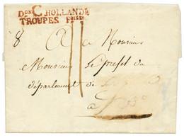 """An 13 Don C HOLLANDE TROUPES Foises En ROUGE (Non Signalé) Sur Lettre (pd) Avec Texte Daté """"ZULPHEN"""". RARE. Superbe. - Army Postmarks (before 1900)"""