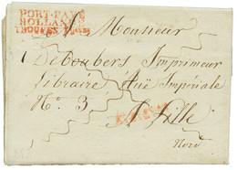 1813 PORT-PAYE/ HOLLANDE/ TROUPES Fcaises Rouge Sur Lettre Avec Texte(superbe Vignette Illustrée GOUDA) De GOUDA Pour La - Army Postmarks (before 1900)