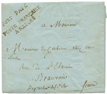 1806 PORT PAYE + POSTE FRANCAISE A NAPLES Sur Lettre Avec Texte De NAPLES Pour La FRANCE. Superbe Qualité. - Army Postmarks (before 1900)