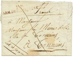 1812 Trés Rare Cachet P.P. ARM. CATALOGNE En Rouge Sur Lettre Avec Texte Daté GIRONNE. Ex. DUBUS. TB. - Army Postmarks (before 1900)