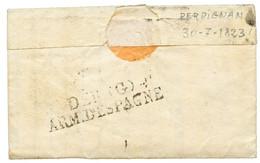 1823 Trés Rare Cachet DEB. (G) / ARM. D' ESPAGNE Au Verso D'une Lettre Avec 31 ISLE DE JOURDAIN Pour SEVILLE. RARETE. 3  - Army Postmarks (before 1900)