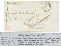 EXPEDITION DE LA BALTIQUE : 1855 DANZIG + Taxe 3 Sur Enveloppe Avec Texte Daté Du Navire COPACK à NARGEN (ESTONIE) Pour  - Army Postmarks (before 1900)