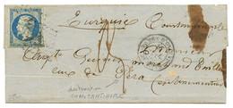 GUERRE DE CRIMEE : 1855 20c (n°14) + ARMEE D' ORIENT 2e CORPS + Taxe 3 Sur Lettre Ss Texte Pour PERA, CONSTANTINOPLE. Ve - Army Postmarks (before 1900)