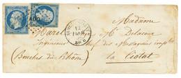 1856 20c(n°14)x2 Obl. AOO + ARMEE D' ORIENT Bau O Sur Lettre Pour La FRANCE. Rare En Double Port. TB. - Army Postmarks (before 1900)