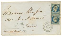 """1856 Paire 20c (n°14) TTB Margée Obl. PC 1896 + ESCAD. DE LA MEDIT. MARSEILLE + Mention Manus. """"ARME D' ORIENT"""" Sur Enve - Army Postmarks (before 1900)"""