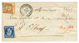 """""""Lettre CHARGEE Du CORPS EXPEDITIONNAIRE D' ITALIE"""" : 1856 20c + 40c Obl. GRILLE + CORPS EXPEDITIONNAIRE D' ITALIE 2e DI - Army Postmarks (before 1900)"""