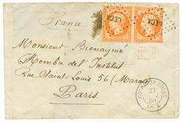 1860 Paire 40c(n°16) Pd Obl. + CORPS EXP. CHINE Bau A Sur Enveloppe Pour PARIS. Double Port à 80c. RARE. TB. - Army Postmarks (before 1900)