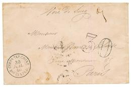 "CHINA - FRENCH EXPEDITION : 1860 CORPS EXP. CHINE Bau CENTRAL + ""VIA SUEZ"" + Taxe 30 D.T Sur Enveloppe Pour PARIS. Super - Army Postmarks (before 1900)"
