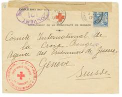 1917 MONACO 25c Obl. Sur Enveloppe CROIX-ROUGE Avec CENSURE + Cachet ASSOCIATION DES DAMES DE FRANCE / CROIX-ROUGE FRANC - Army Postmarks (before 1900)